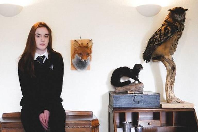 Sydney Langton tem 16 anos e já trabalha empalhando animais mortos