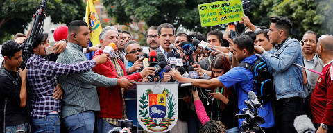 Venezuela's opposition leader Juan Guaido, who many nations have recognized as the country's rightful interim ruler, speaks at a protest of the public transport sector against the government of Venezuela's President Nicolas Maduro in Caracas, Venezuela February 20, 2019. REUTERS/Manaure Quintero NO RESALES. NO ARCHIVES ORG XMIT: QUI018