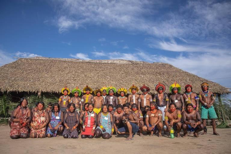 Kayapó-Menkragnoti na reunião de validação do protocolo de consulta à comunidade
