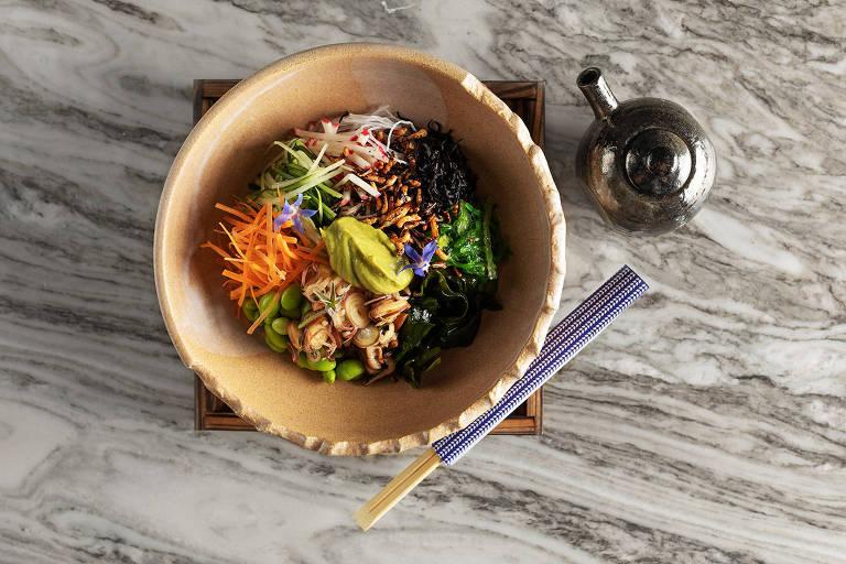 Seaweed Salad, um dos itens do menu do novo Makoto, filial de restaurante de Miami, no shopping Cidade Jardim