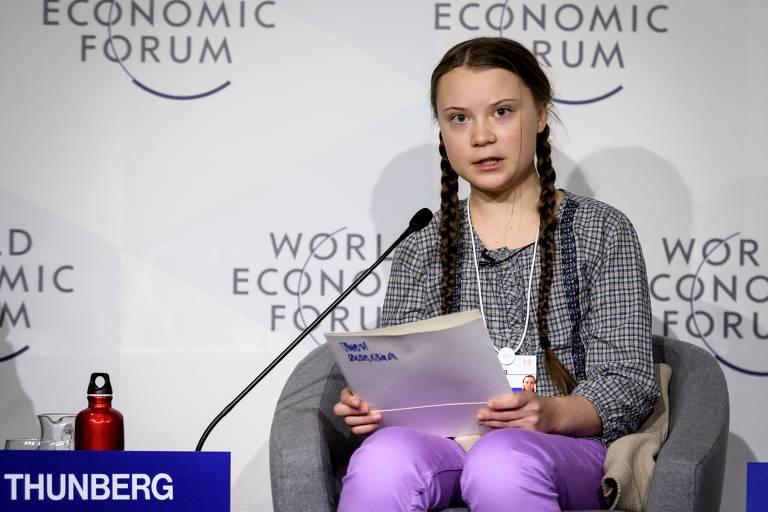 Ativista sueca Greta Thunberg discursa durante o Fórum Econômico Mundial, em 25 de janeiro de 2019, em Davos, na Suíça. Ela inspirou uma onda de protestos climáticos pelo mundo.