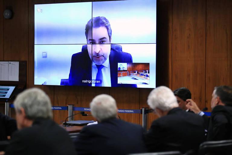 O ex-advogado da Odebrecht Rodrigo Tacla Duran durante oitiva por videoconferência na CPI da JBS
