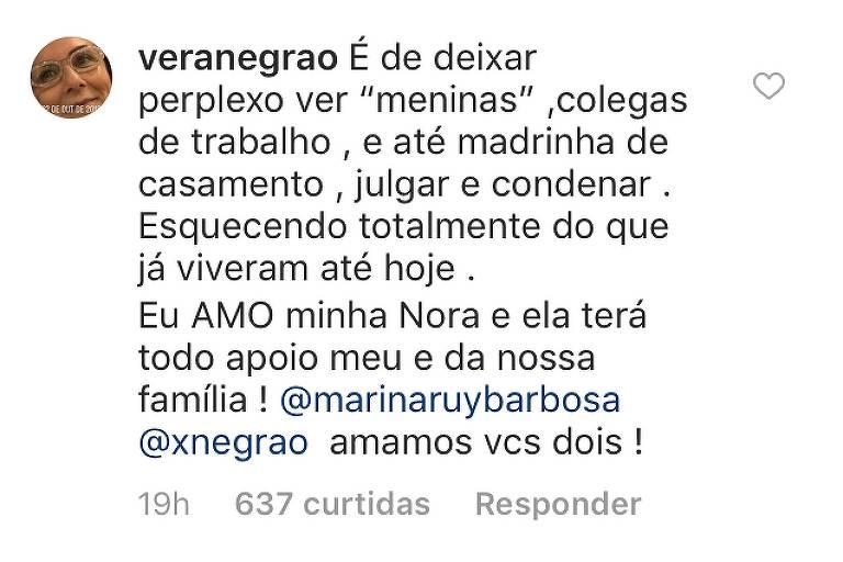 Post de Vera Negrão no Instagram
