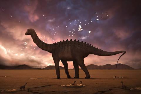 Ciência + Saúde 11.12.2015 - Dinossauro Maxakalisaurus topai observa estrelas cadentes resultantes da queda do asteroide que extinguiria os dinos há 66 milhões de anos. (Foto: Divulgação)