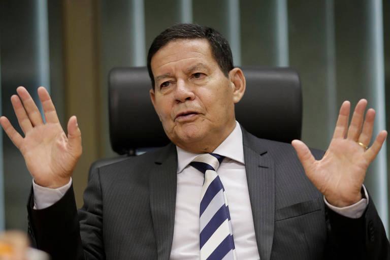 O vice-presidente Hamilton Mourão, durante entrevista