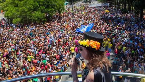 SAO PAULO, SP, BRASIL, 18-02-2017, 12h30: O cantor Alceu Valenca se apresenta no bloco Bicho Maluco Beleza, em frente ao parque do Ipirapuera, em Sao Paulo. (Foto: Eduardo Anizelli/Folhapress, COTIDIANO)