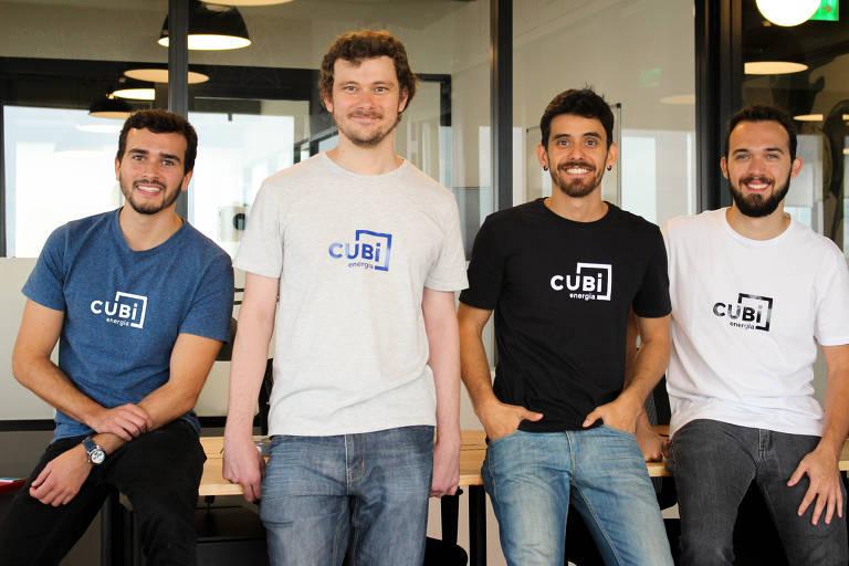 Ricardo Dias, Tiago Justino, Rafael Turella e Bruno Scarpin (da esq. p/ dir.), sócios da CUBi, no escritório da empresa, em São Paulo