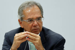 Brazil's Economy Minister Paulo Guedes attends a meeting with governors about pension reform bill proposal in Brasilia, Brazil
