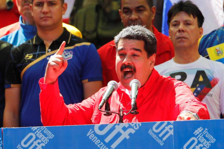 5a732965ed7 O presidente Nicolás Maduro discursa durante ato em Caracas - Manaure  Quintero - 23.fev.2019 Reuters