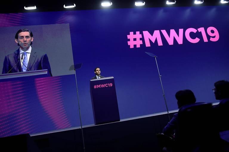 José María Álvarez-Pallete López, executivo-chefe da Telefónica, fala na abertura da Mobile World Congress (MWC) em Barcelona