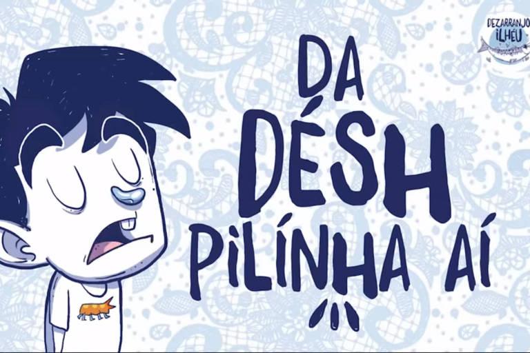 """Frase """"Dá désh pilinha aí"""" no dialeto manezês"""