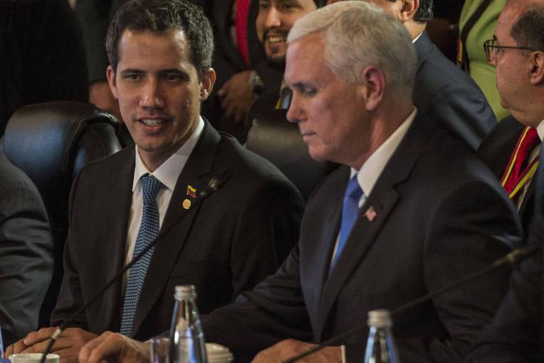 O vice-presidente americano, Mike Pence, e o líder oposicionista e autoproclamado presidente interino da Venezuela, Juan Guaidó, participam de encontro do Grupo de Lima em Bogotá.