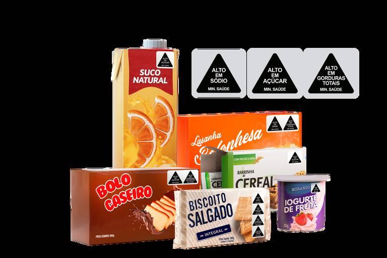 Selos aplicados em embalagens de produtos seguindo modelo proposto pelo Idec
