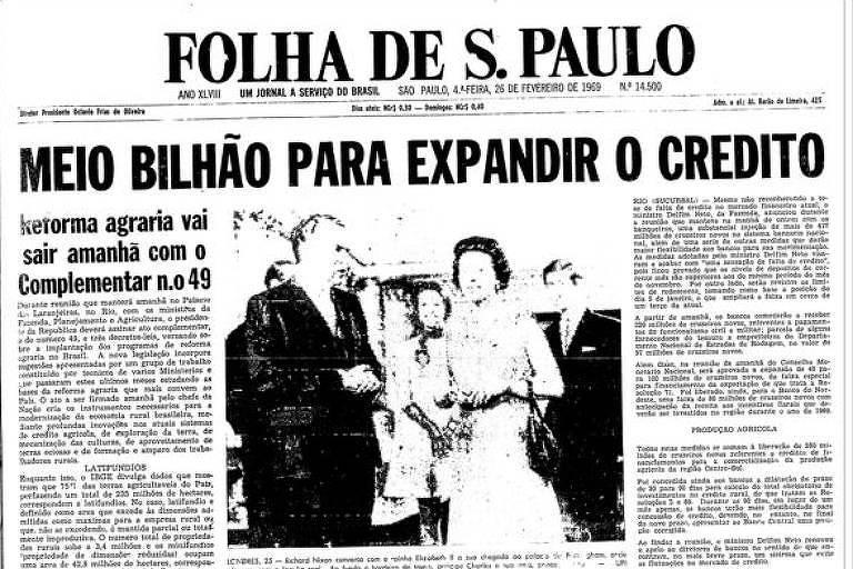 Primeira Página da edição da Folha de de 26 de fevereiro de 1969