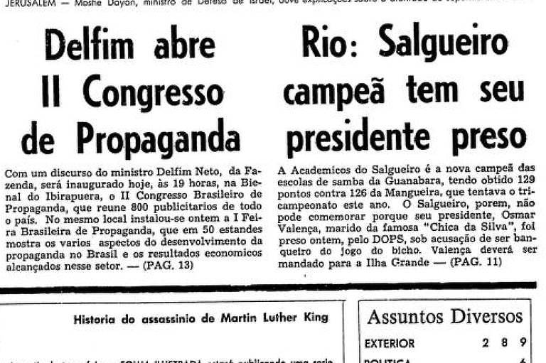 Primeira Página da Folha de 23 de fevereiro de 1969