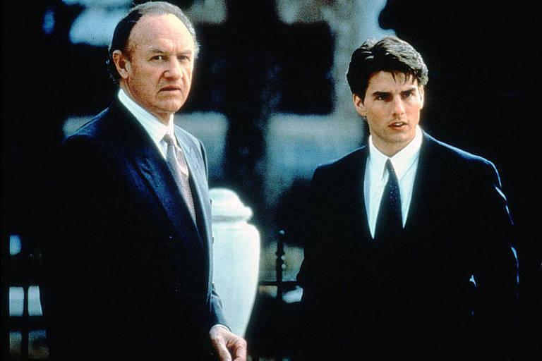 """Os atores Gene Hackman (à esq.) e Tom.Cruise em cena do filme """"A Firma"""""""