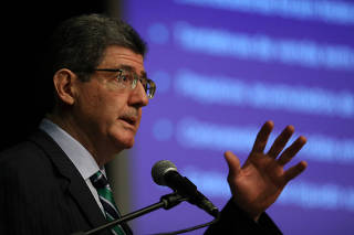 BNDES President Joaquim Levy attends an event of the Privatization of the electricity sector in Rio de Janeiro