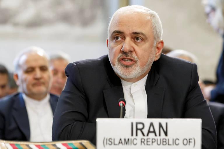 Mohammad Javad Zarif durante a Conferência de Genebra sobre o Afeganistão na sede europeia das Nações Unidas em Genebra, Suíça