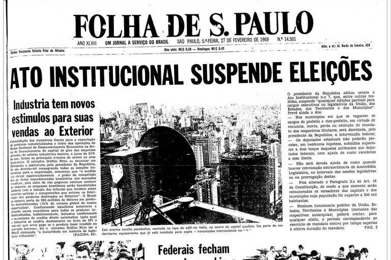 Primeira Página da Folha de 27 de fevereiro de 1969