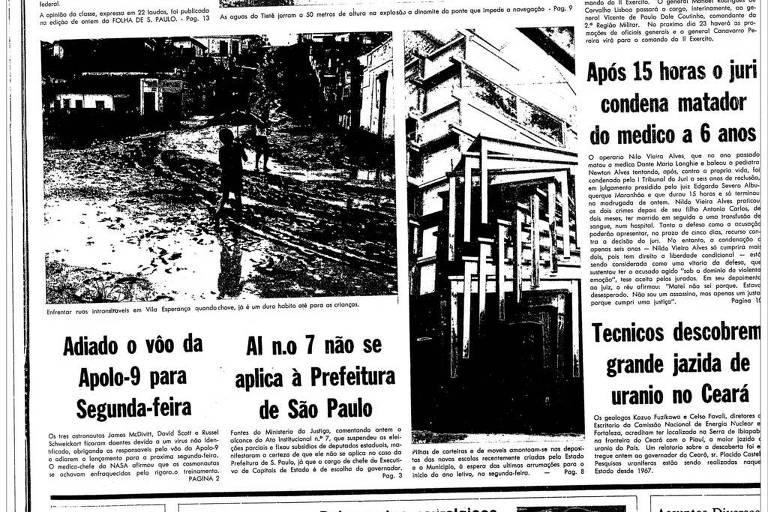 1969: Astronautas da Nasa ficam doentes, e voo da Apollo 9 precisa ser adiado