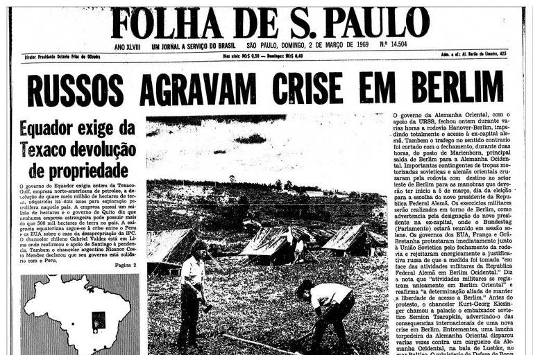 Primeira Página da Folha de 2 de março de 1969