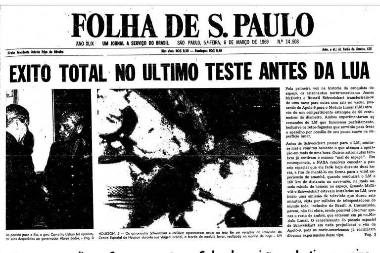 Primeira Página da Folha  de 6 de março de 1969