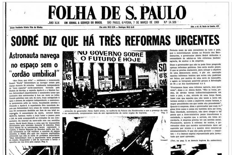 Primeira Página da Folha de 7 de março de 1969
