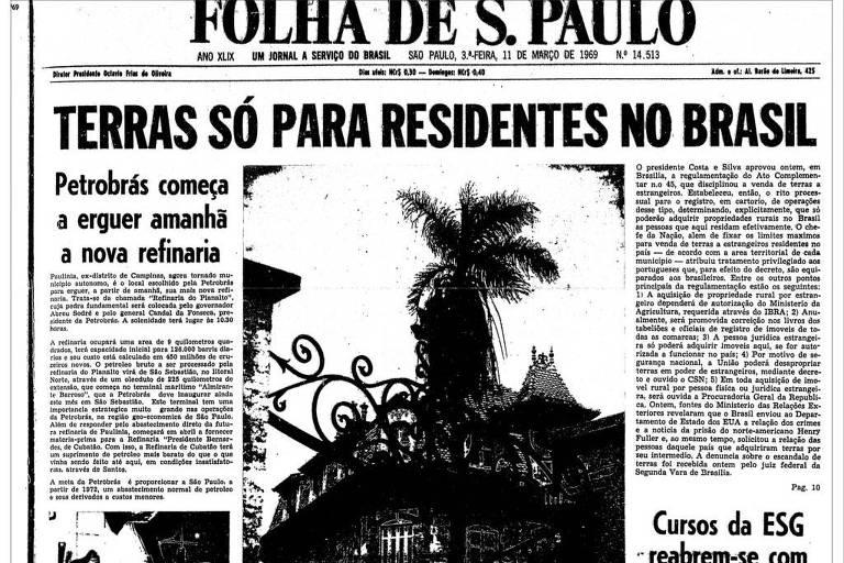 Primeira Página da Folha de 1969