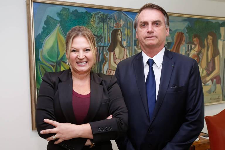 A deputada Joice Hasselmann (PSL-SP) durante encontro com o presidente Jair Bolsonaro (PSL)