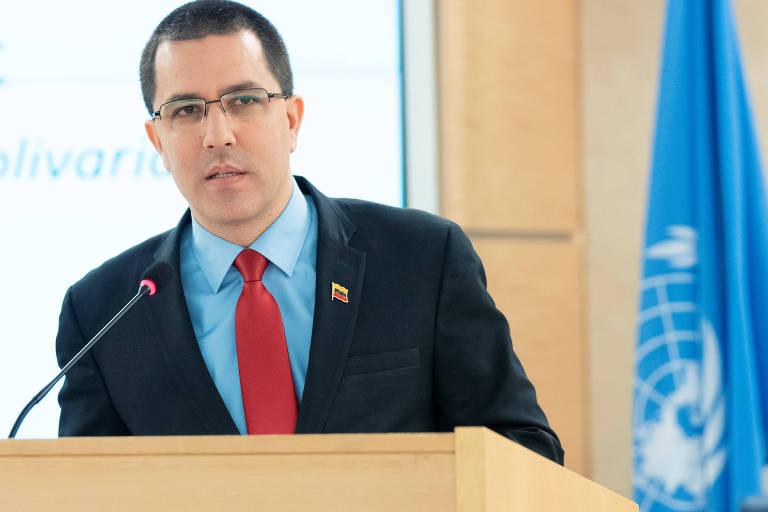 Jorge Arreaza, ministro das Relações Exteriores da Venezuela, em discurso no Conselho de Direitos Humanos da ONU