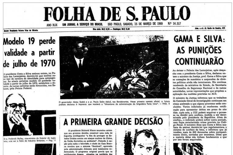 1969: Antes de assumir prefeitura, Maluf elogia administração de Faria Lima