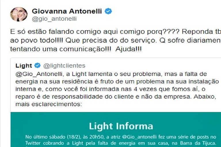 Giovanna Antonelli bate boca com empresa de energia