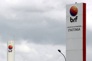 FILE PHOTO: FILE PHOTO: Meat processing company BRF SA's logo is pictured in its unit in Fortaleza