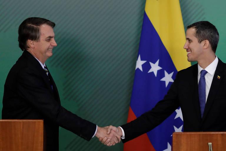 Venezuelan opposition leader Juan Guaidó and Brazil's President Jair Bolsonaro