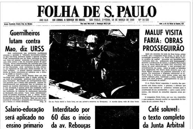1969: Maluf afirma que nenhuma obra será interrompida em São Paulo