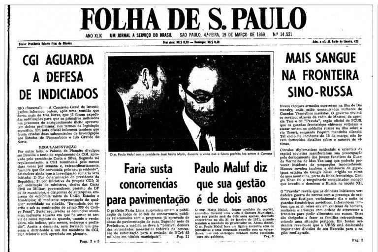 1969: Maluf afirma que sua gestão na Prefeitura será de dois anos