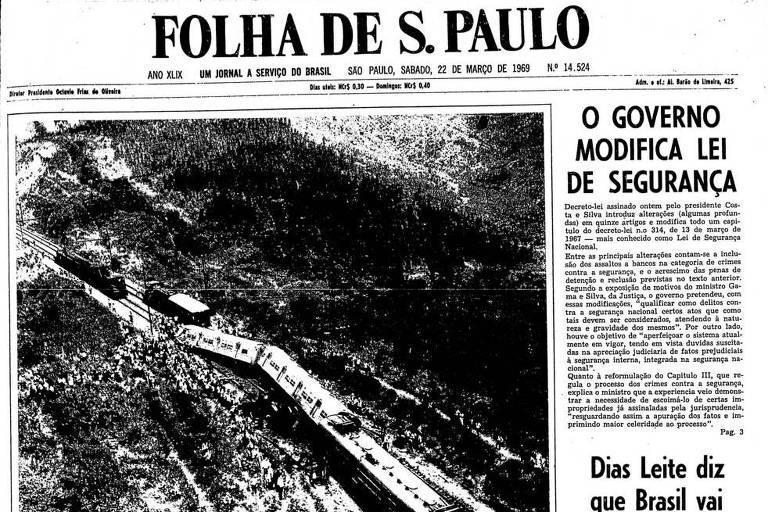 Primeira Página da Folha de 22 de março de 1969