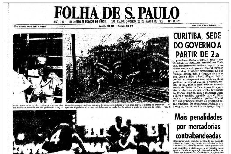 Primeira Página da Folha de 23 de março de 1969