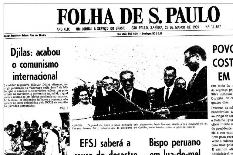 Primeira Página da Folha de 25 de março de 1969