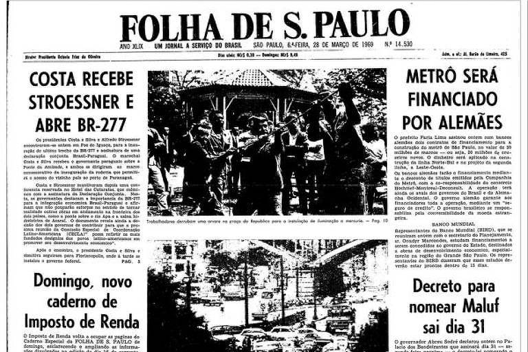 Primeira Página da Folha de 28 de março de 1969