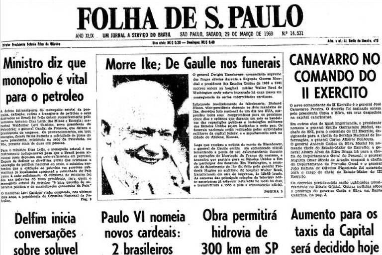 Primeira Página da Folha de 29 de março de 1969