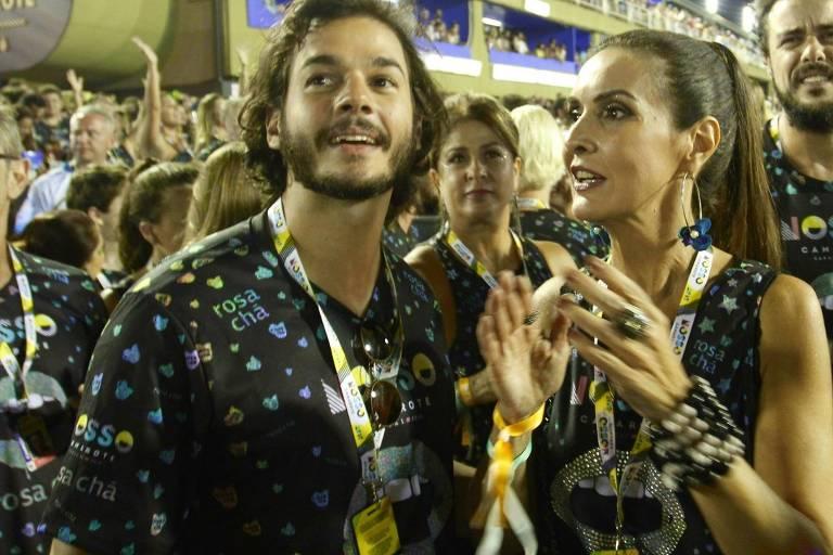 Fátima Bernardes e Túlio Gadêlha no Nosso Camarote, em 2018, na Marquês da Sapucaí