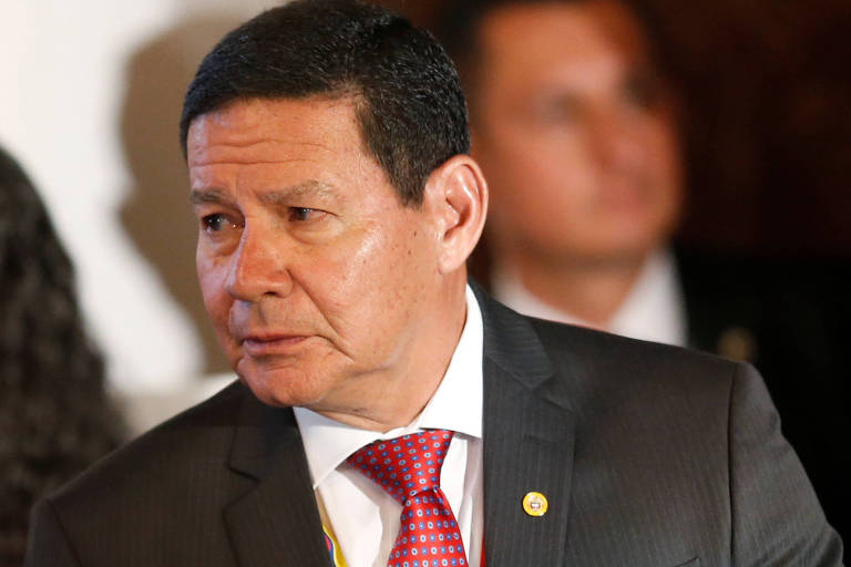 O vice-presidente Hamilton Mourão durante reunião do Grupo de Lima em Bogotá, Colômbia