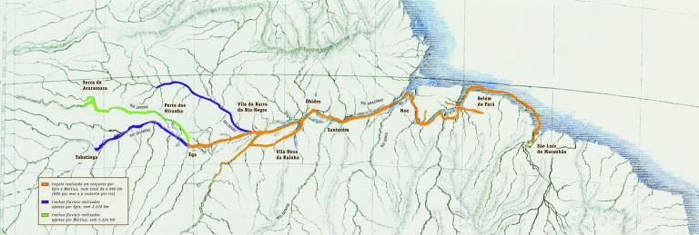 Mapa do trajeto realizado por Carl Friedrich Philipp von Martius em sua expedição ao Brasil, de 1817 a 1820