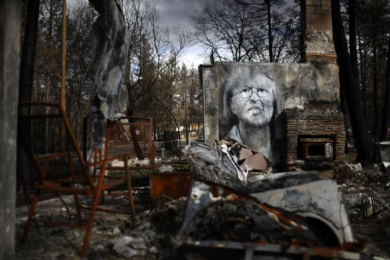 Artista faz desenhos em ruínas de incêndios na Califórnia