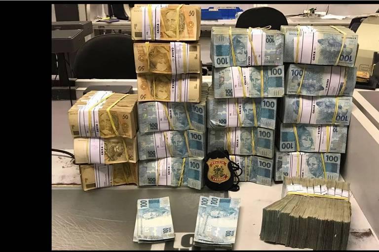 Dinheiro apreendido pela Polícia Federal em maio de 2017 na Operação Patmos