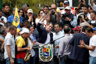 Venezuelan opposition leader Juan Guaido arrives in Caracas