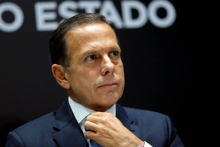 O governador de São Paulo, João Doria, durante entrevista à imprensa, em fevereiro deste ano