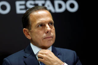 The governor of Brazil's Sao Paulo state Joao Doria is seen during a news conference regarding Ford Motor Co's closure of its Sao Bernardo do Campo plant and ending truck manufacturing in South America, in Sao Paulo