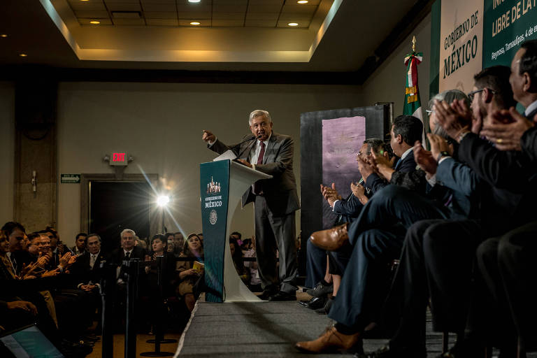 O presidente do México, Andrés Manuel López Obrador of Mexico, ao anunciar plano para estimular a economia do país, em evento em Reynosa